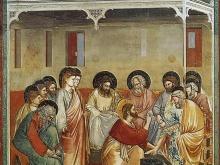 Immagine dell'affresco di Giotto, Lavanda dei piedi, dalle Storie di Cristo, 1303-5