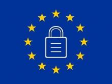 un simbolo di un lucchetto chiuso sullo sfondo della bandiera europea